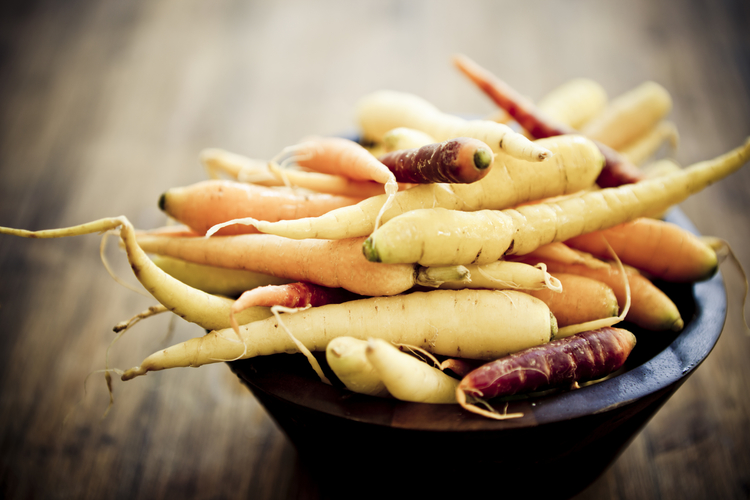 Select some small rainbow carrots for some added color and easy cooking.